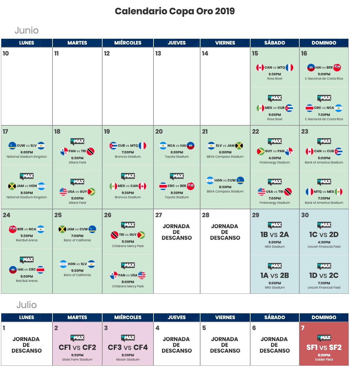 Calendario Copa.Calendario Copa Oro 2019